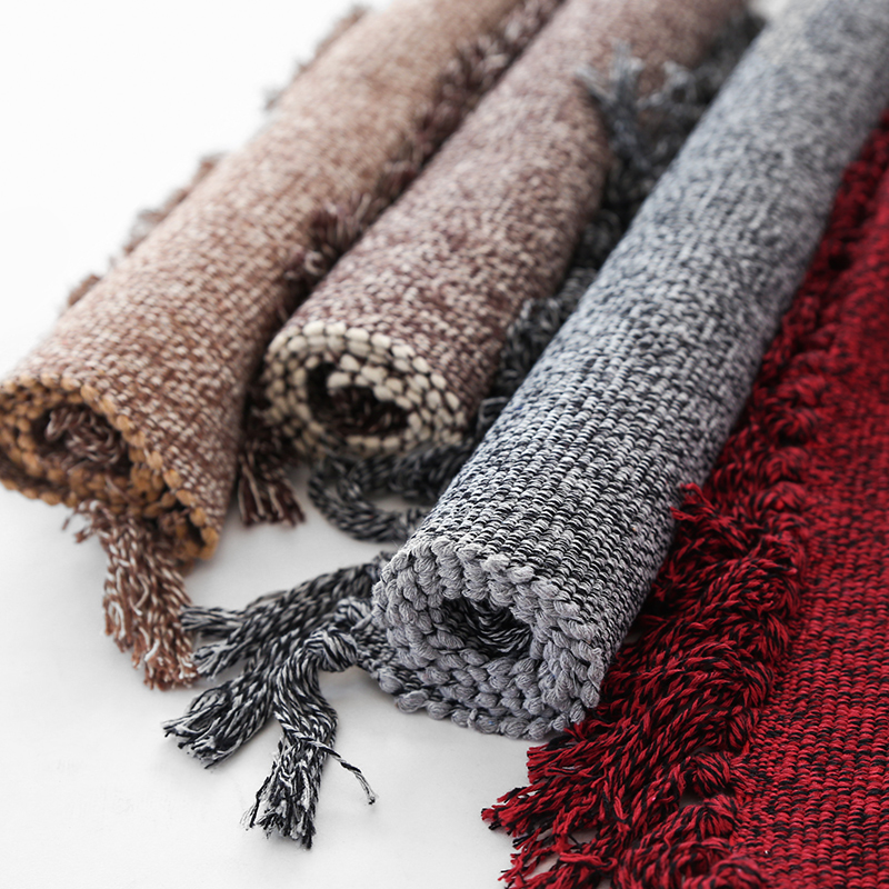 Cotton Knitting Solid Color Rectangle Carpet Hand Woven Reversible Rug For Living Room Bedroom Tassels Non-slip Pads Area Rugs