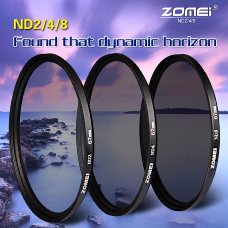 Zomei de alta calidad cámara de densidad neutra filtro ND ND2 ND4 ND8 52/55/58/62/67 /72/77/82mm para Canon Nikon Sony lente de cámara