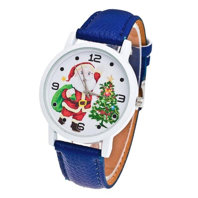 Fashion Men Women Wristwatch Christmas Santa Claus Pattern Watches PU Leather Strap Children Kids Casual Quartz Watch LX