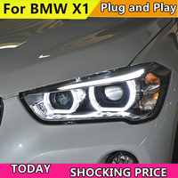 Car Headlights For BMW X1 F48 Headlight 2016 2017 2018 x1 Head lamp LED Angel Eyes DRL Hi Low Beam Bi Xenon Lens HID Front light