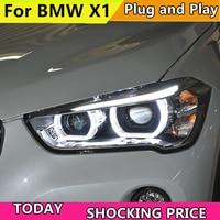 Car Headlights For BMW X1 F48 Headlight 2016 2017 2018 x1 Head lamp LED Angel Eyes DRL Hi Low Beam Bi Xenon Lens HID Front light