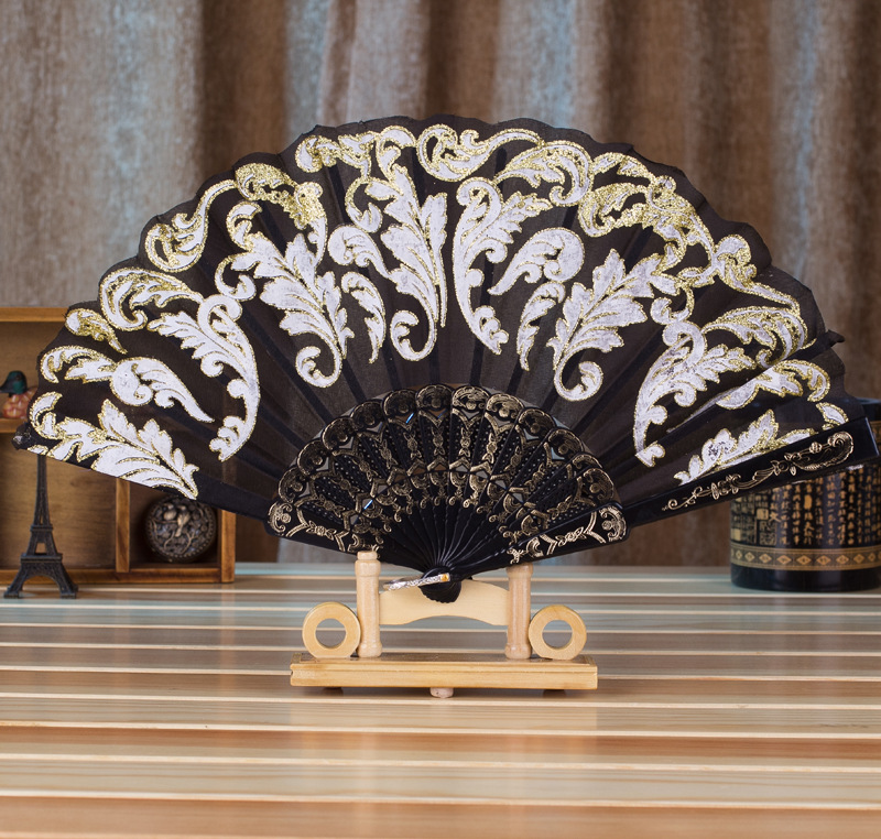 Vintage Foldable Bamboo Silk Lace Hand Fan Womens Outdoor Handheld Ornament