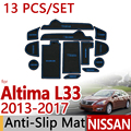 Для Nissan Altima L33 2013-2017 Против Скольжения Резиновая Чашка Подушки Циновка Двери 13 Шт. Teana 2014 2015 2016 Аксессуары Стайлинга Автомобилей Стикер