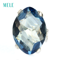 Natural Mystic Quarts Silver Ring 24mm 18mm Big Stone And Beautiful Color Fashion And Popular