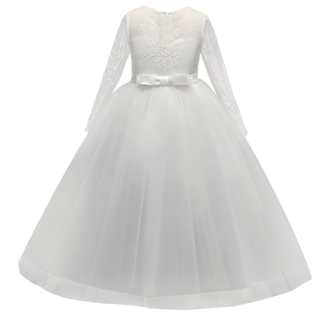 2018 Long Sleeve Teenage Girls Dress Children Princess Lace Clothes Kids  Birthday Party Ball Gown For Girl s Prom Designs 92278b560cac