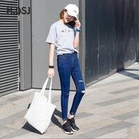 H. DSJ Bahar Kadın Skinny Jeans Kore Moda Cepler Yüksek Bel Jeans Bayanlar Kalem Pantolon Delik Elastik Sıkı Ince pantolon
