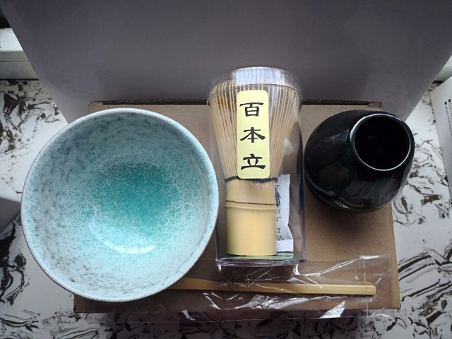 Free shipping Japan Handmade Batidor Matcha kit Maccha Whisk tea Set, four piece porcelain bamboo tea sets