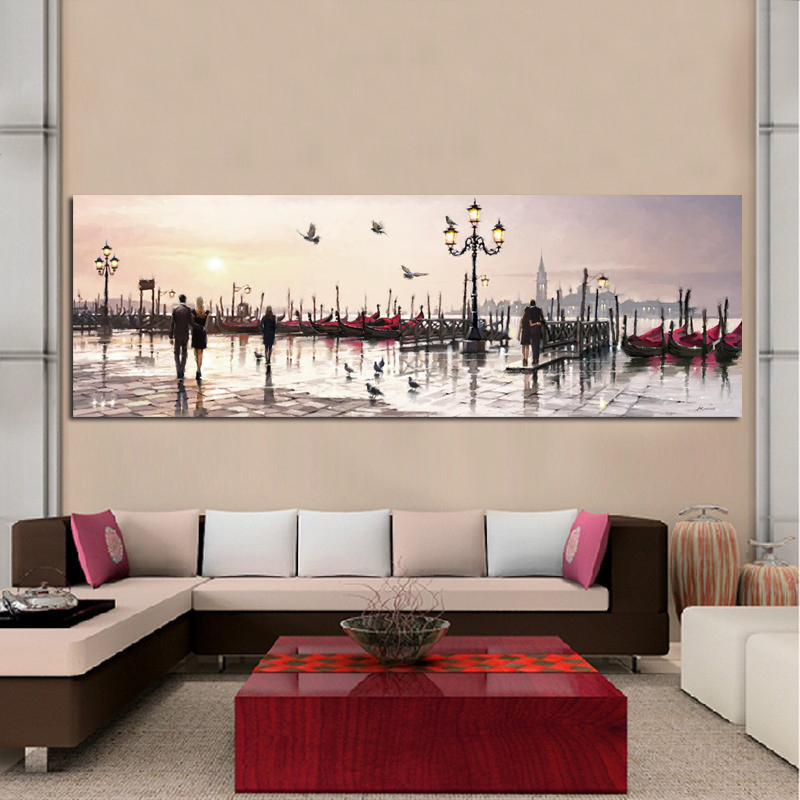 Abstract Landscape Posters And Prints Wall Art Canvas Painting Lovers And City View Oil Painting Pictures For Living Room Decor