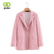 GOPLUS 2019 New Spring Pink Plaid Blazer Women Elegant Single Button Long sleeve Blazers Office Lady Feminino Chamarras Mujer