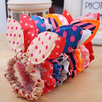 LNRRABC 10Pcs lot Girls Hair Band Mix Styles Polka Dot Bow Rabbit Ears Elastic Hair Rope