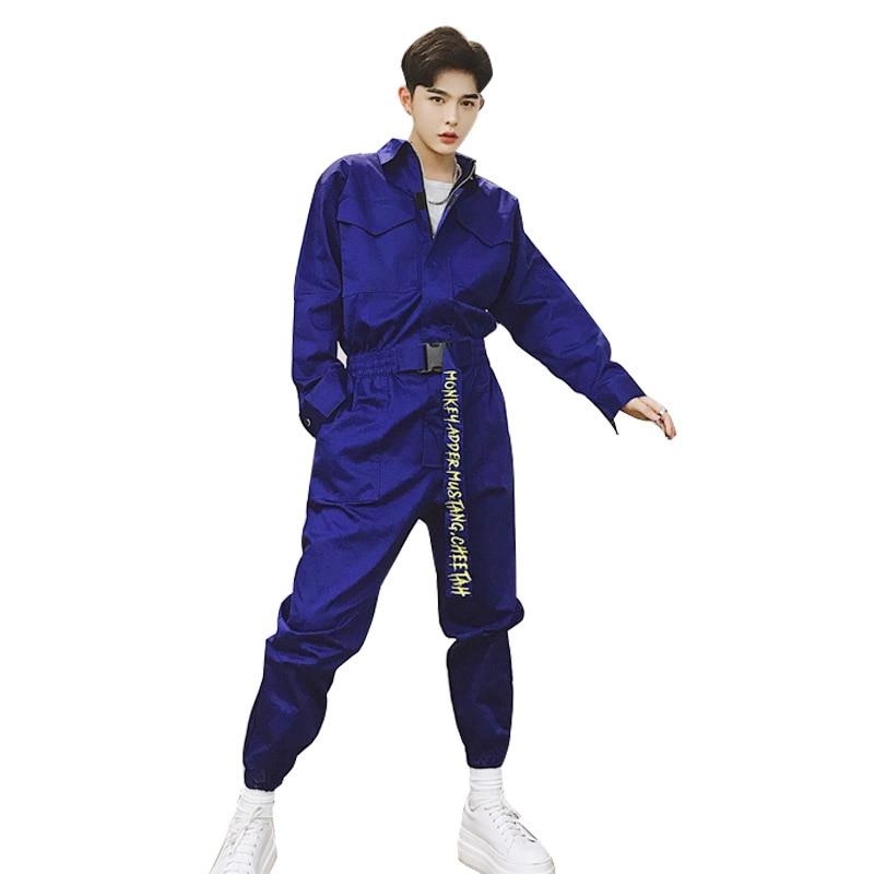 Ernstig Mannen Lange Mouw Een Stuk Broek Overalls Streetwear Mode Losse Toevallige Jumpsuit Broek Mannelijke Tooling Hip Hop Harem Broek