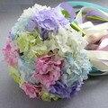 Сочетание цветов поддельные цветок Свадебные букеты Шелковый Цветок гортензии Для Свадебных Гортензия букет Невесты Подружки Невесты Свадебный Букет FW173
