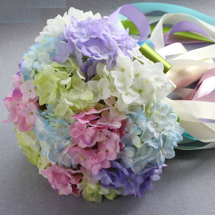 Mix color fake flower Bridal bouquets Silk hydrangea Flower For ...
