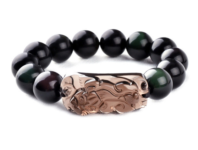 Natural black obsidian bead mantra prayer beads  Gem Bracelet fashion women men jewelry wristband men bracelets