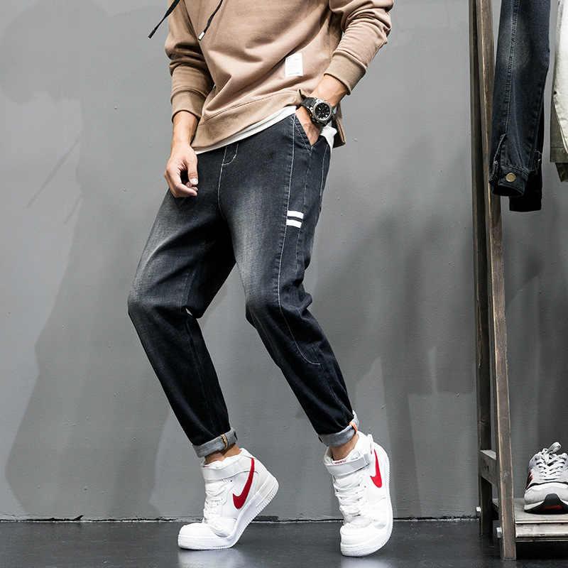 Yüksek Sokak Moda Erkek Jogger Kot Siyah Renk En Kaliteli Gevşek Fit Kargo Pantolon Harem Pantolon Hip Hop Kot Erkekler EW1708