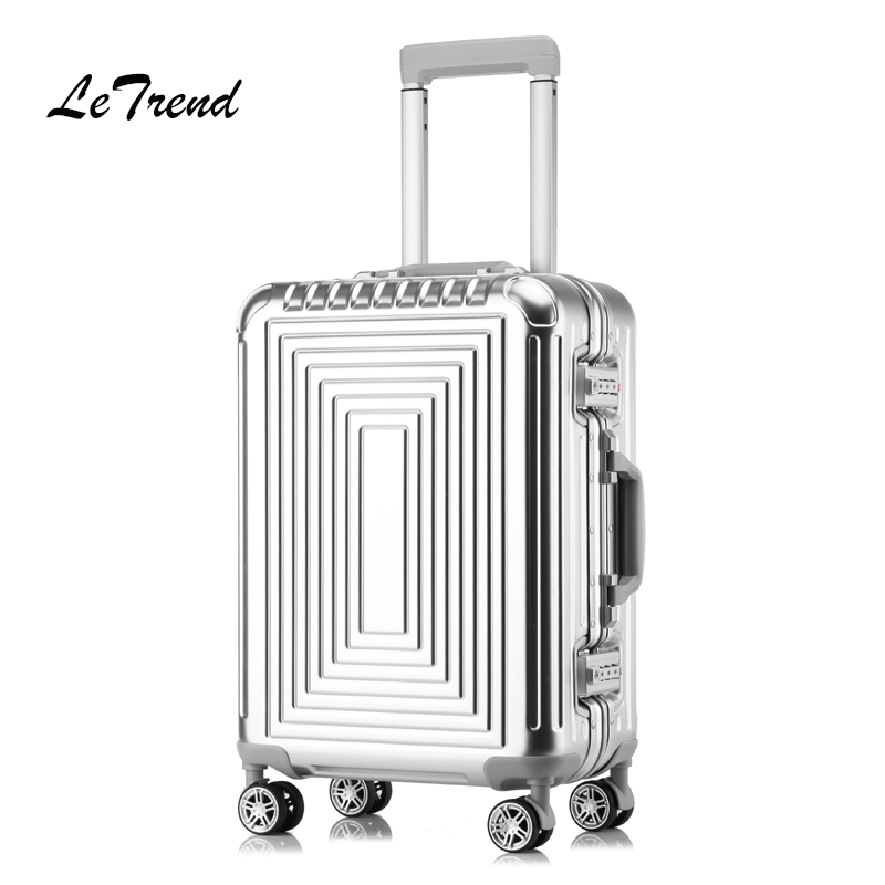 Letrend 100% Aluminum-magnesium alloy Rolling Luggage Spinner Suitcases Wheel 20 inch Men Business Carry On Trolley Travel Bag