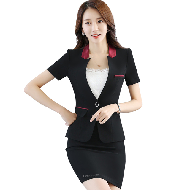 Aliexpress.com : Buy Business Style Black Women Skirt Suit 2 ...