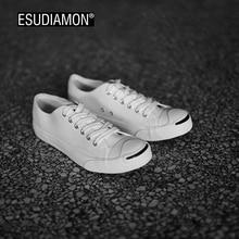 ESUDIAMON Новый Стиль Летние Мужчины Холст Обувь Мода Дышащая Зашнуровать Квартиры мужская Обувь Улыбка Случайный Человек Вулканизированной Обувь