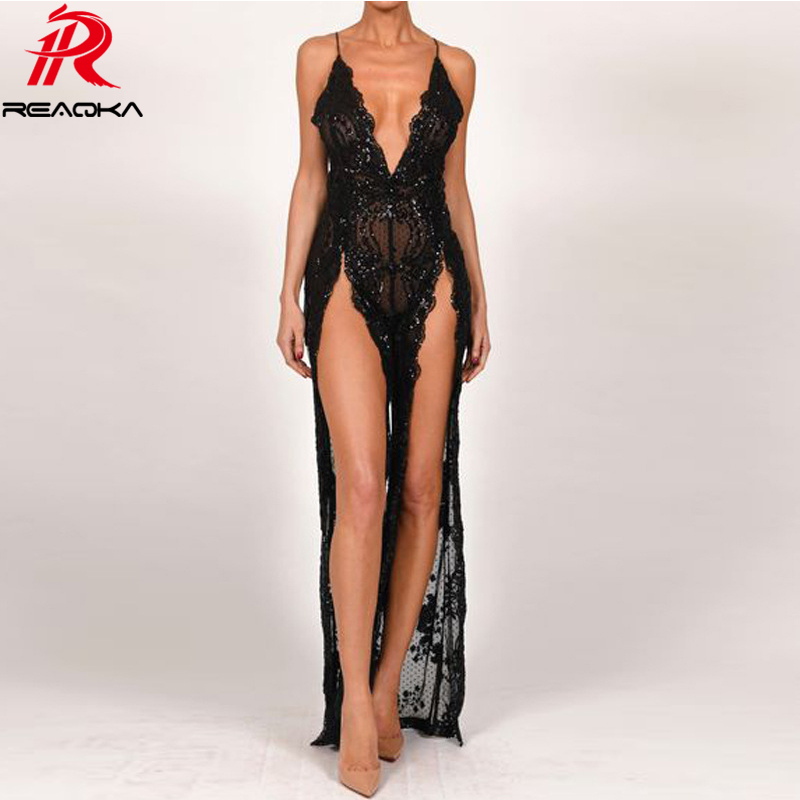 Sexy Plunge V Spaghetti Strap Nightclub Woman jumpsuit Summer Sequins Backless Party Front Split bodysuit Women overalls 2018