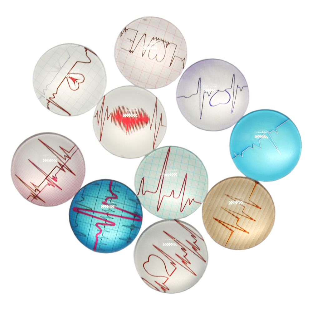 New Fashion 10pcs 25mm Mixed Heartbeat ECG Love Heart Handmade Cabochons Glass DIY Embellishment For Crafts Jewelry Making