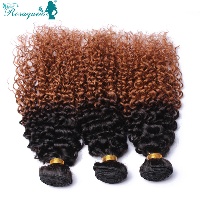 "Brazilian Kinky Curly Virgin Hair 1B/30 Ombre Brazilian Hair 3Pcs/Lot Top Quality Ombre Human Hair 10""-24"" Rosa Hair Products"