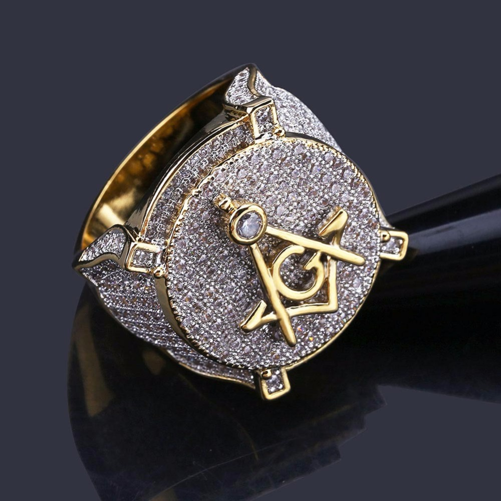 Aaa Cz Zircon Ice Out Bling Big Wide Masonic Ring Gold Filled Copper Material Freemasonry Rings Men Hip Hop Rapper Jewelry 7-11 Nourishing Blood And Adjusting Spirit