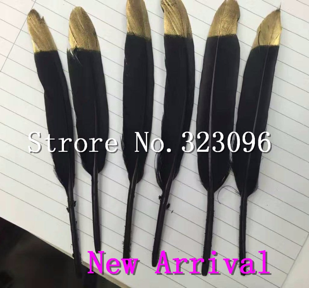 New Arrival 100pcs Gold White/blackDyed Loose Goose Feather Colorful Wedding Bouquet Decoration Craft for Home Decor 10-15cm