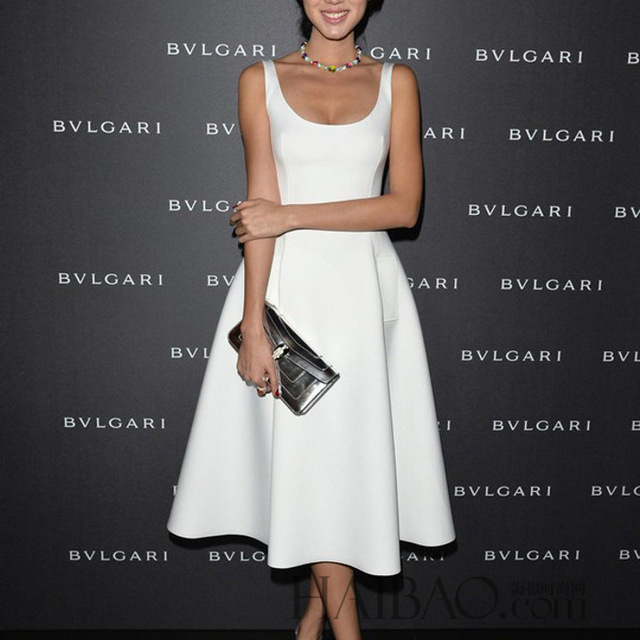Frauen Weiße Kleider Eleagnt Dame Kleider OL Stil Frauen Büro ...