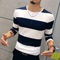 T4389 95% Algodão Casual Homens Camiseta Listrada de Manga Longa M-5XL Mens T Shirts Moda 2016 Camisetas Hombre Camiseta Homme