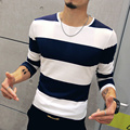 T4389 95% Algodón Casual Hombres Camiseta A Rayas de Manga Larga M-5XL Hombre T Shirts Moda 2016 Camisetas Hombre Camiseta Homme