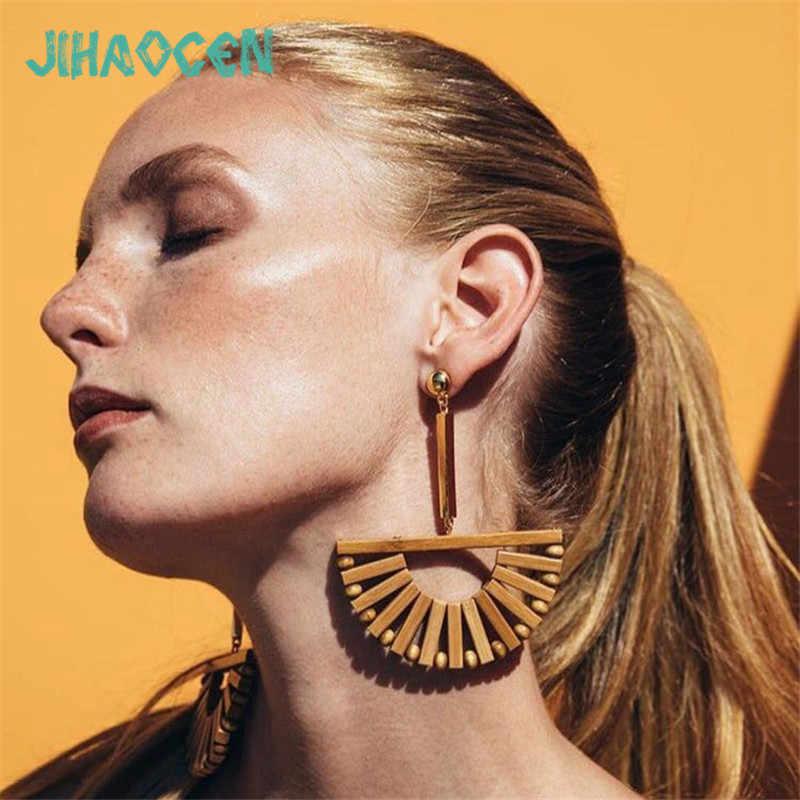 Bijoux Femme бамбуковые полукруглые полые серьги Европа и Америка Простой ветер геометрический популярный элемент уха ювелирные изделия
