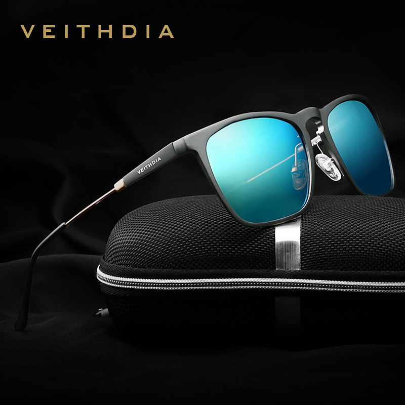 VEITHDIA Mens Square Retro Aluminium Sunglasses Polarized Blue Lens Vintage Eyewear Accessories Sun Glasses For Men / Women 6368