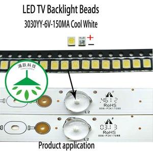 Yongyuekeji 200 шт./лот Новый светодиодный smd 3030 6 в 150мА 1 Вт лампа бусины холодный белый для ремонта ТВ ЖК подсветка бар горячая распродажа
