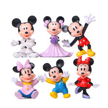 6pcs/lot Cute Mickey Minnie Figures Toys PVC Marry Minnie Mickey Mouse Action Figures Model Toys Christmas Gift(China)