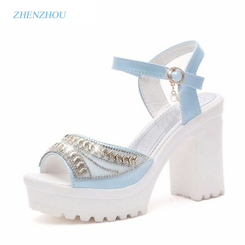 2017 Summer style Women's shoes wedge thick with high heel sandals female platform sequins diamond waterproof platform peep-toe  han edition diamond thick bottom female sandals 2017 new summer peep toe fashion sandals prevent slippery outside wear female