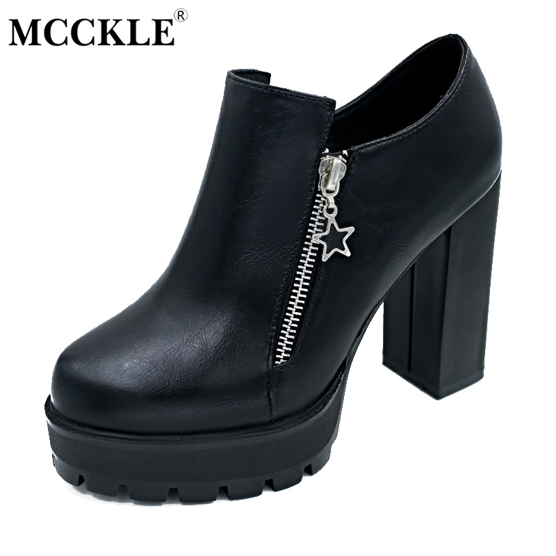 MCCKLE Female Fashion Zip Slip On Chunky Heel Autumn Platform Black High Heels 2017 Women's Casual Shoes Ladies New Style Pumps cicime women s heels thin heel spikes heels solid slip on wedding fashion leisure casual party dressing high heel platform pumps