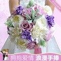 Натурализм свадебное Романтический Искусственного шелка роуз Украшение Стола Цветок с листьев ягоды свадебные фиолетовый свадебный букет
