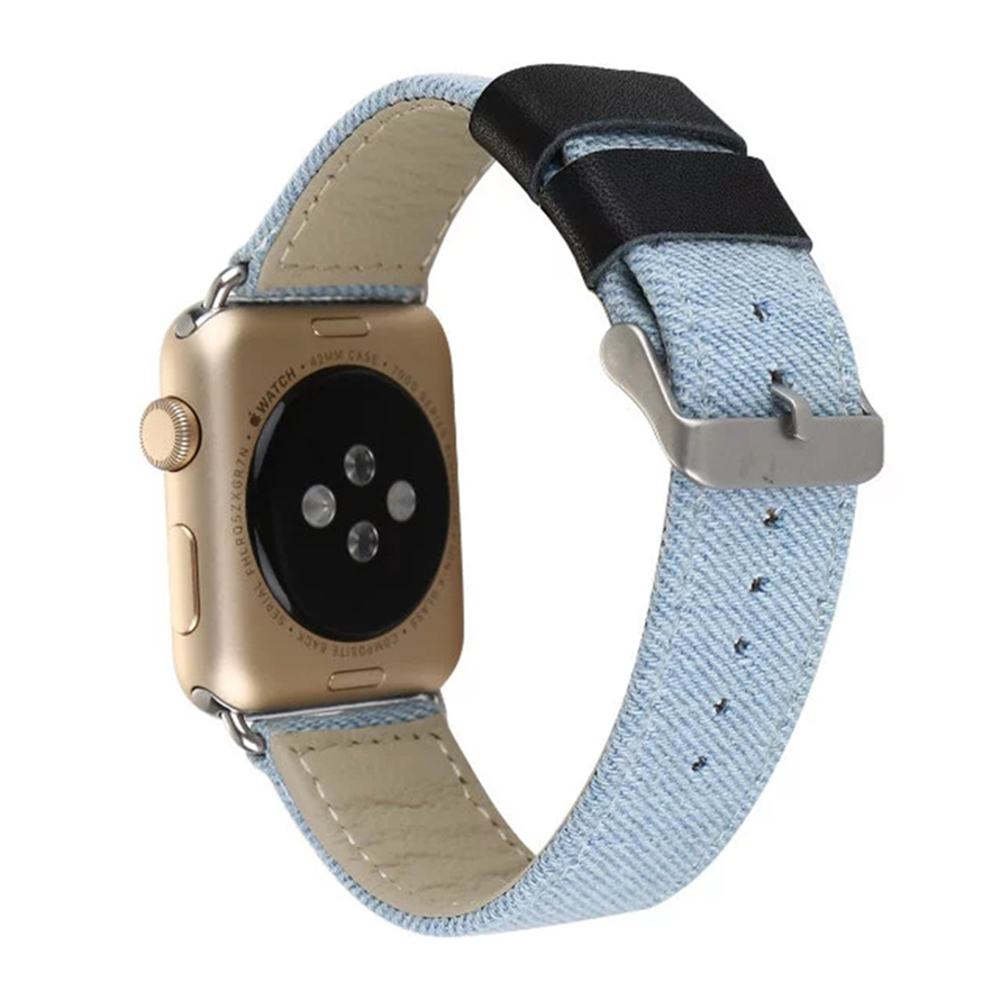 Outdoors Sports Blue Jeans Cloth+Leather Watch Band for Apple Watch iwatch Bracelet Running Strap Band I129.
