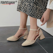 TASSLYNN 2019 Elegant Wedding Women Shoes Flock Square Toe Buckle Strap Pumps Thick Heels Office Lady Size 43