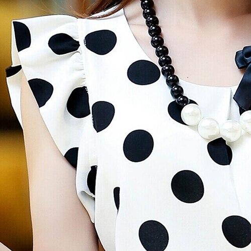 Hot Women Summer Casual Polka Dot Round Neck Short Sleeve Shirt Top Chiffon Blouse 5