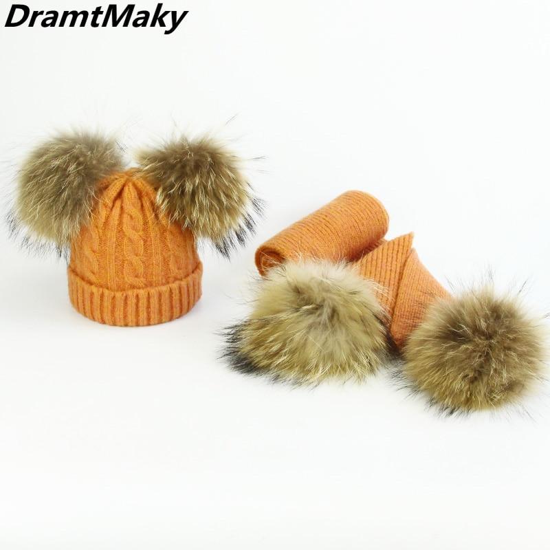 Children Real Fur Pompom Winter Hat and Scarf Set   Skullies     Beanies   Warm Cap Elasticity Knit Hats Kids Fur Pom Pom Hats Girls Boy