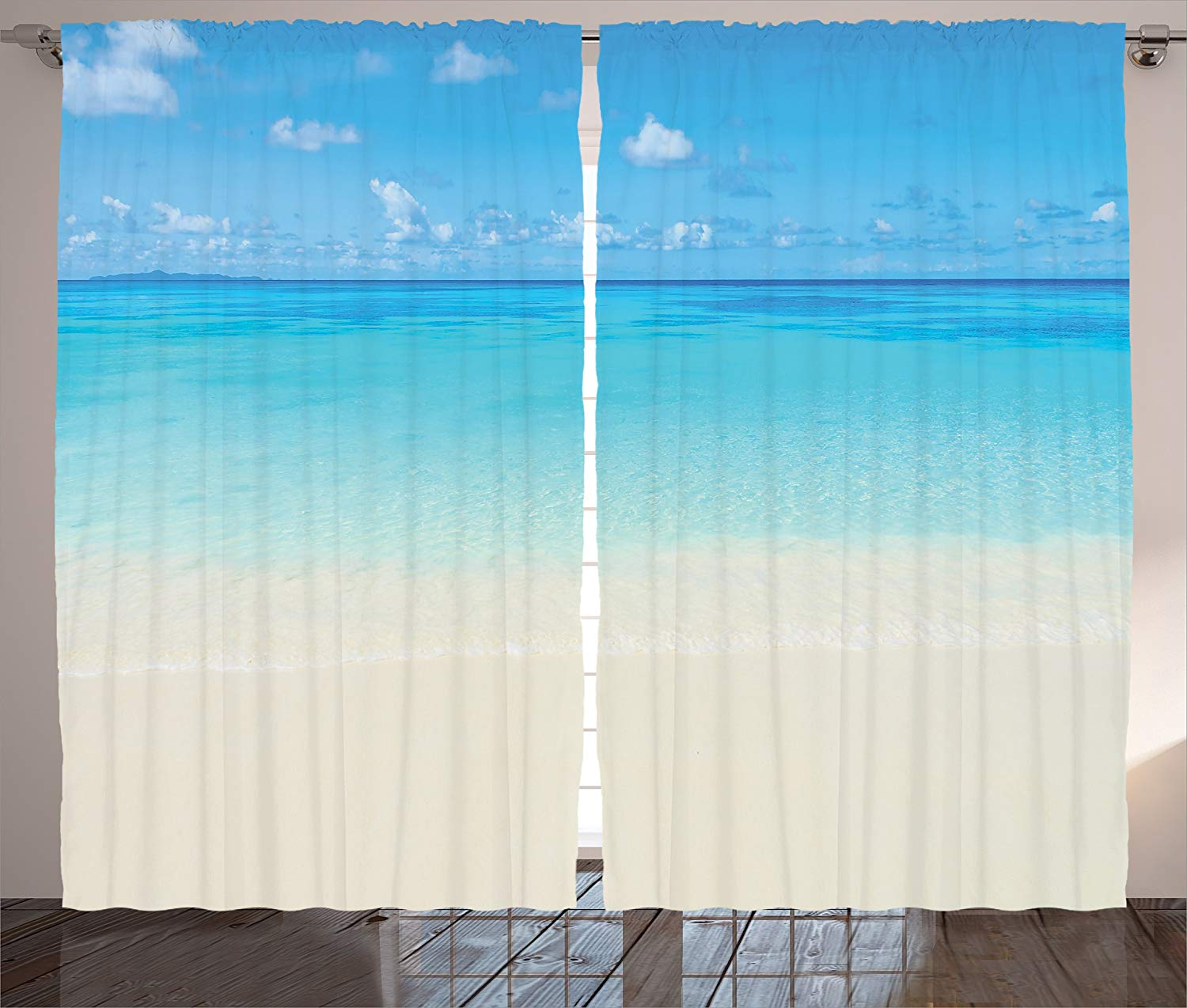 Ocean Decor Curtains 2 Panel Set Paradise Beach in Tropical Caribbean Sea with Fantastic Sky View Calm Beach House Theme Living image