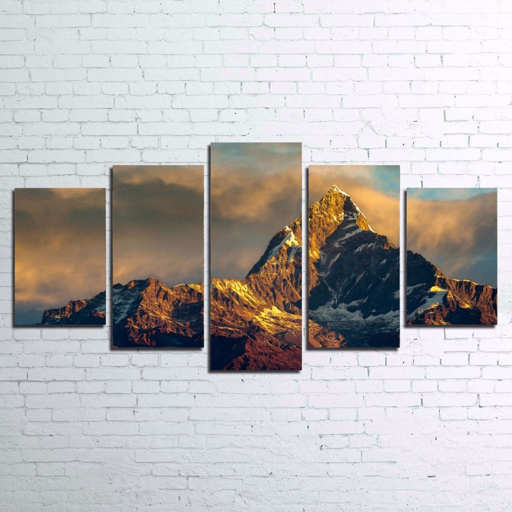 snow posters promotion shop for promotional snow posters on modern canvas painting home wall art modular pictures 5 pieces snow mountains landscape poster for living room home decor pengda