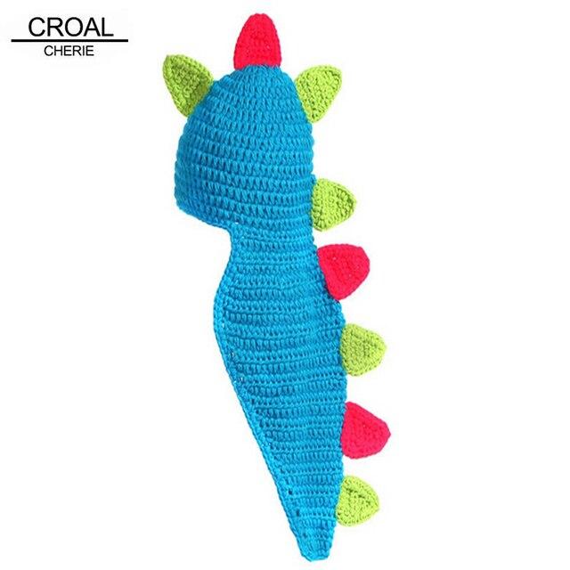 5761f50d17d6c Handmade Cotton Knitted Dinosaur Newborn Photography Props Baby Clothing  Winter Cute Beanie Headband Crochet Baby Clothes