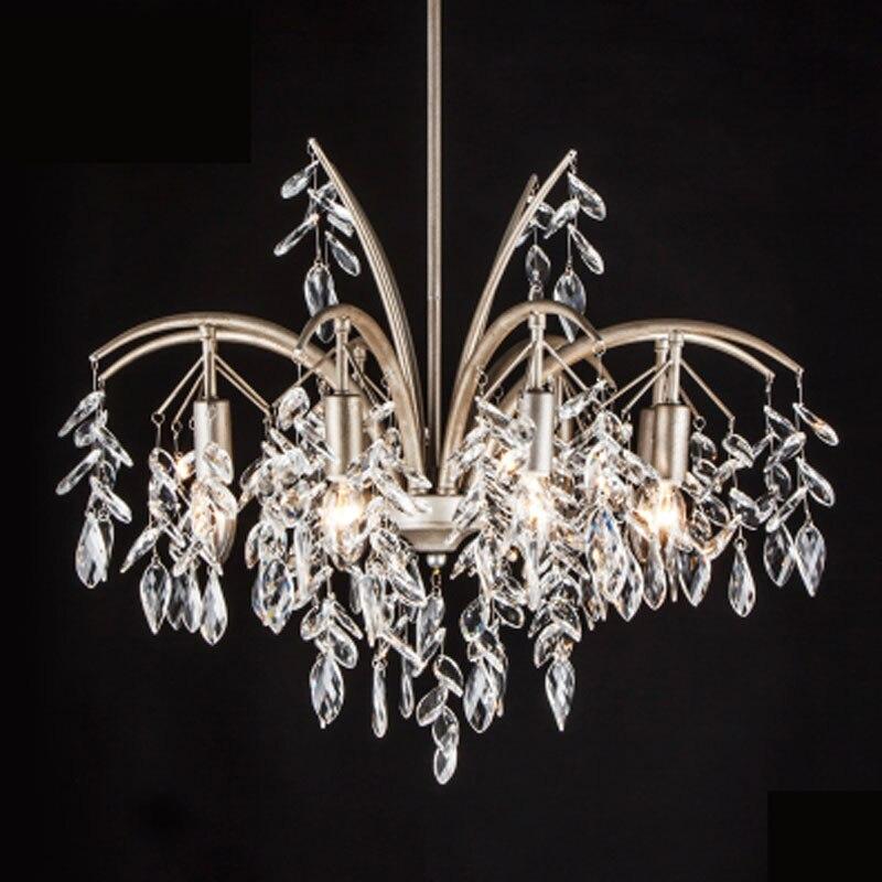 Simple European Crystal Lighting Fixture Luxury E14 LED Large Hall Lamp  Retro Creative Living Room Bedroom