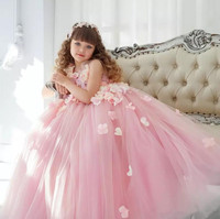 Princess Beautiful Dresses 2018 New Flower Girls Dresses For Wedding Pink 3D Flowers Ball Gown Pageant