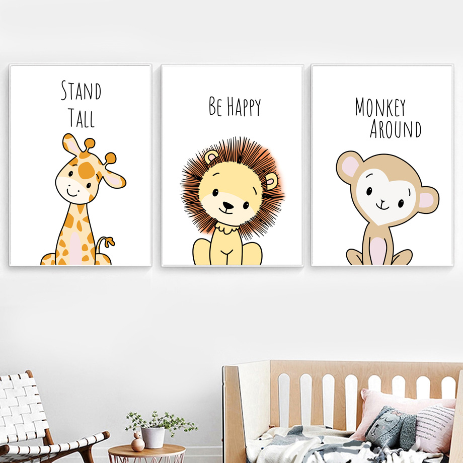 Lion Monkey Elephant Zebra giraffe Nursery Wall Art Canvas Painting Nordic Posters And Prints Wall Pictures Baby Kids Room Decor in Painting Calligraphy from Home Garden