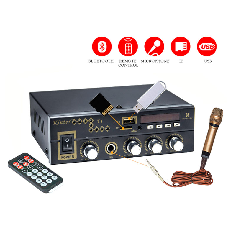 Free Shipping High Quality Mini Hifi Bluetooth Power Amplifier 12V 110V 220V Digital Player DVD CD MP3 TF USB Multifunction image