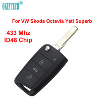 OkeyTech Original 3 Button for VW Remote Key Control Flip Folding Uncut Blade 433Mhz ID48 Chip For VW Skoda Octavia Yeti Superb