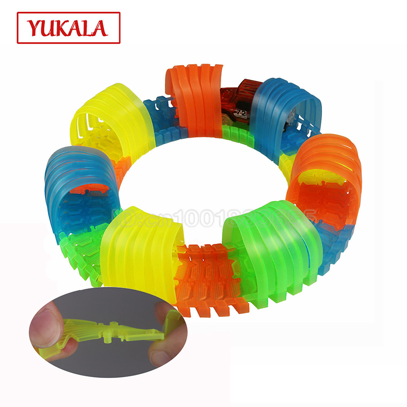 YUKALA 64pcs luminous glowing in the dark Track Car tunnel electric rail cars parts set diy racing toys for kids children boys